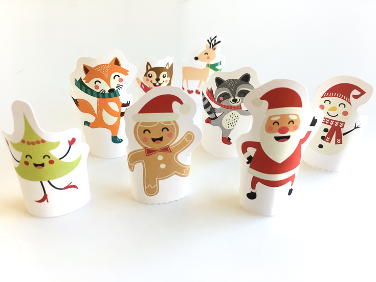 Printable Christmas finger puppets for kids