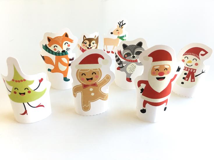 Printable Christmas finger puppets for kids
