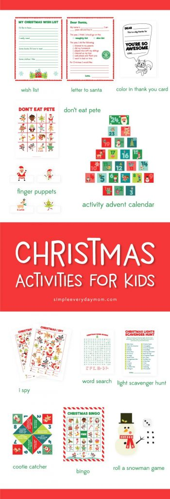 Christmas activities for kids: The entire family will love this printable Christmas pack that includes a wish list, letter to santa, color in thank you card, don't eat pete game, finger puppets, an activity advent calendar, Christmas i spy, word search, Christmas light scavenger hunt, cootie catcher, bingo cards and a roll a snowman game. It's jam packed with tons of fun for the Christmas season!