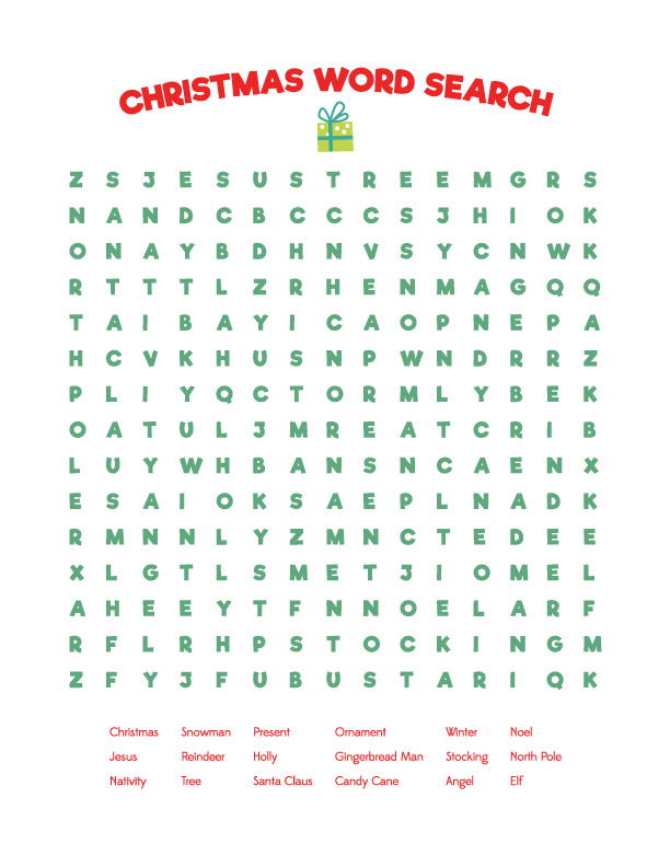 Printable Easy Christmas word search for kids |
