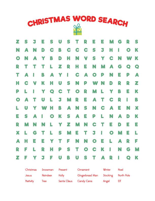 Printable Easy Christmas word search for kids |