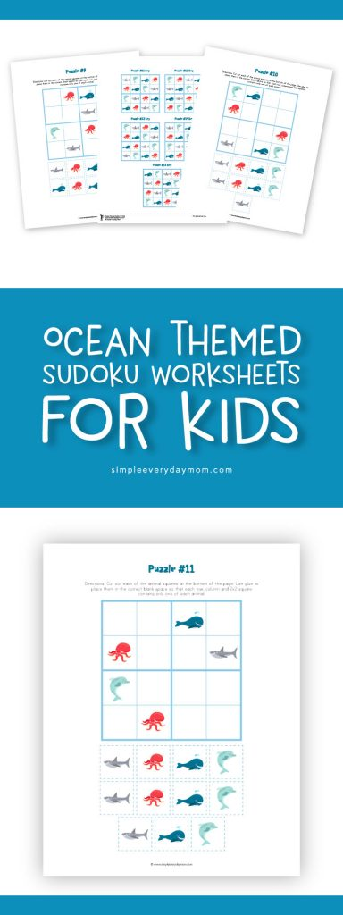 Printable Sudoku For Kids | Kids of all ages will enjoy learning how to play these logical puzzles. Print them out as worksheets to do instantly or create your own busy bag with just a few items.