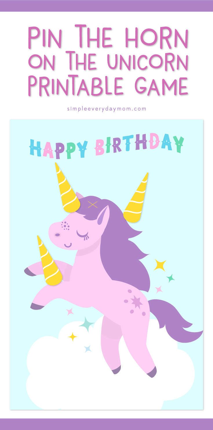 Unicorn party printables | Pin the Horn on the Unicorn | Girls birthday party ideas