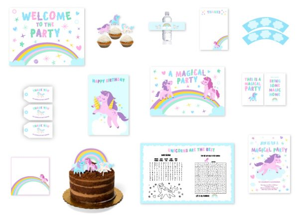 Free Unicorn Birthday Printables ~ Unicorn party free printable invitations oh my fiesta in english