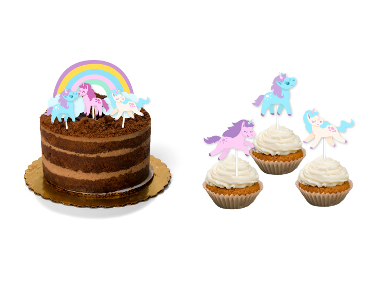 unicorn birthday party | cupcake wrappers and toppers, cake toppers