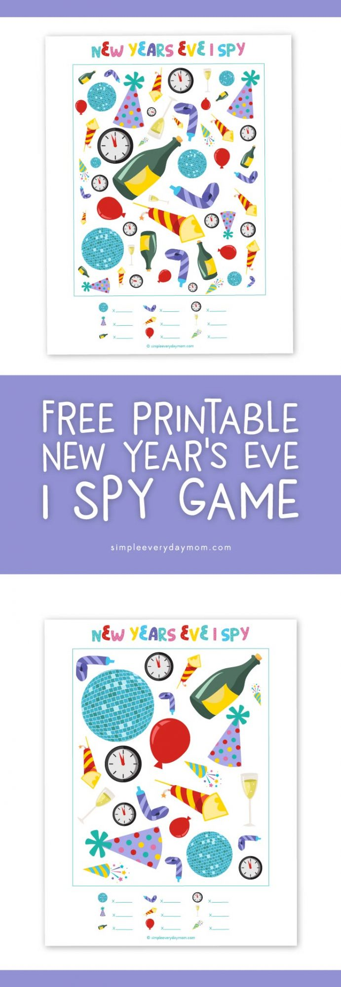 New Years Eve Activities For Kids | Free printable I spy game #newyearseve #kidsactivities #freeprintables