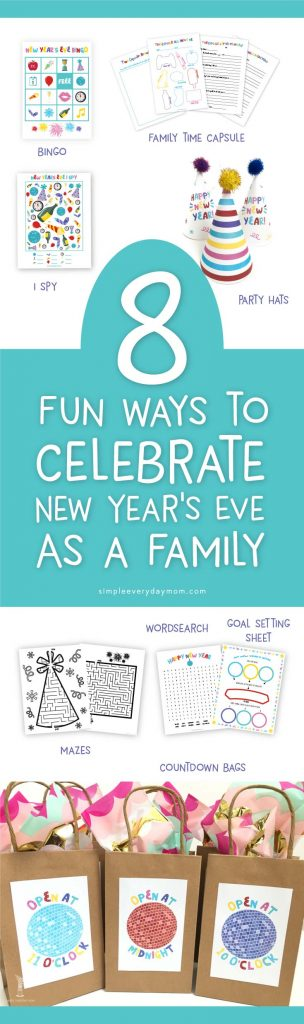New Years Eve Ideas For Families   Have an awesome New Years Eve party with your kids with these NYE activities. There's bingo, ispy, a family time capsule, mazes, a goal setting sheet, countdown bag labels and party hats!