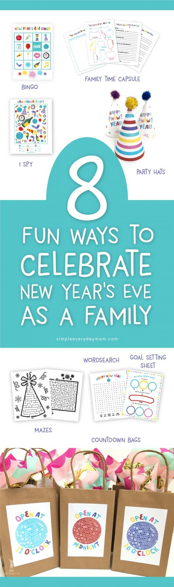 New Years Eve Ideas For Families | Have an awesome New Years Eve party with your kids with these NYE activities. There's bingo, ispy, a family time capsule, mazes, a goal setting sheet, countdown bag labels and party hats!