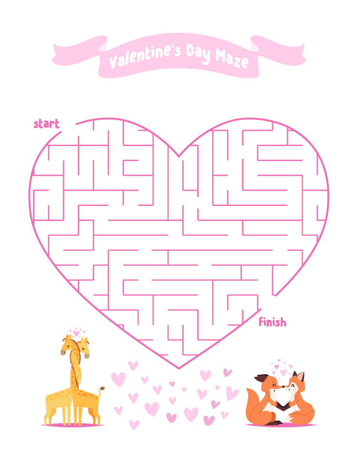 Valentines Day Activities For Kids | Printable Maze  #valentineactivitiesforkids #classroom