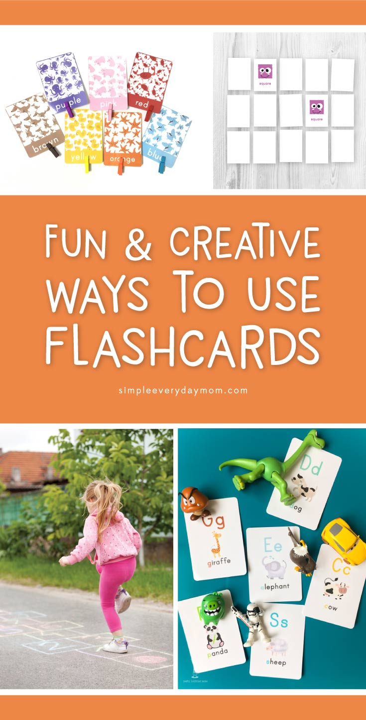 Make flashcards fun with these 7 creative ways to play. Toddlers and kids of all ages will love practicing when you make it into an interactive game! #learnthroughplay #flashcards #toddler #kidsactivities #simpleeverydaymom
