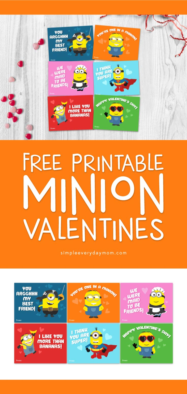 Free Printable Minion Valentines Cards | Need a last minute valentine for school? All your kids' friends in class will love these fun cards.