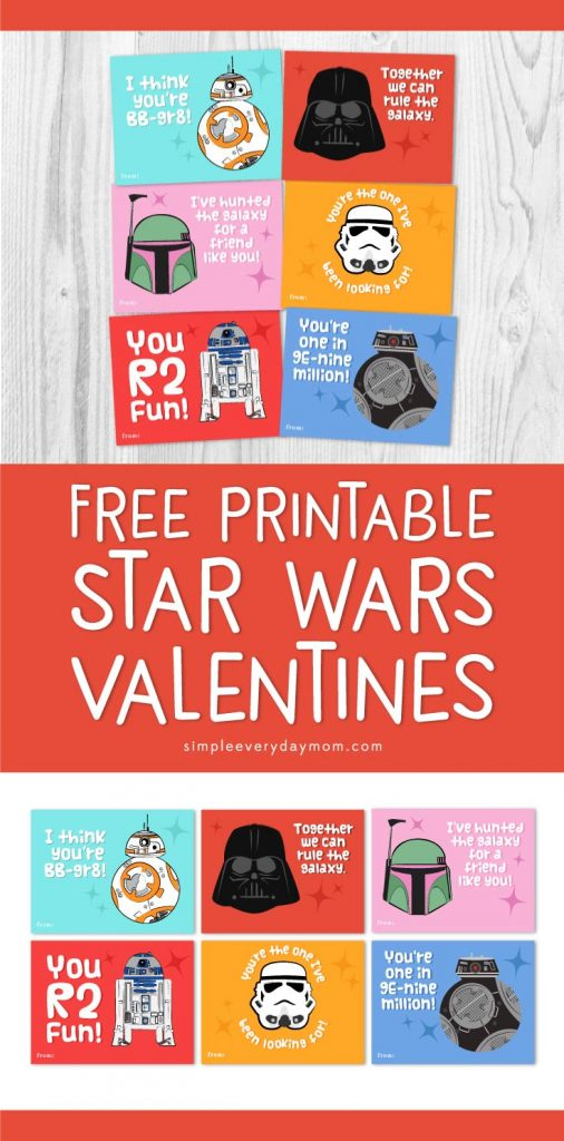 Free Printable Star Wars Valentines | These funny Star Wars puns will have all Star Wars fans laughing. Kids will love passing them out at school! #starwars #starwarsfan #valentinesday #valentine #classroom #elementary #freeprintable #simpleeverydaymom #BB8 #r2d2 #darthvader #bb9e