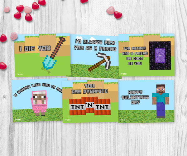 image about Free Printable Minecraft called The Perfect Absolutely free Printable Minecraft Valentines For Boys