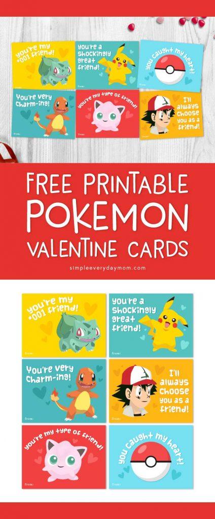 Pokemon Valentines Cards | Kids will love these printable Pokemon cards featuring bulbasaur, pikachu, charmander, Ash and jigglypuff! They're bright, colorful and fun! #pokemon #pikachu #bulbasaur #charmander #valentinesforkids #printablesforkids #simpleeverydaymom #ichooseyou #valentinesdaycrafts #elementaryschool #gottacatchemall #valentines