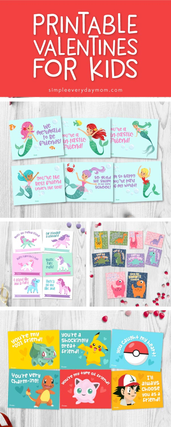 Printable Valentines Cards | Boys and girls will love these printable Valentine's card. They're perfect for the class party. Download Star Wars, Mermaids, Unicorns, Dinosaurs, Minions, Minecraft, Finding Dory, Pokemon and more!