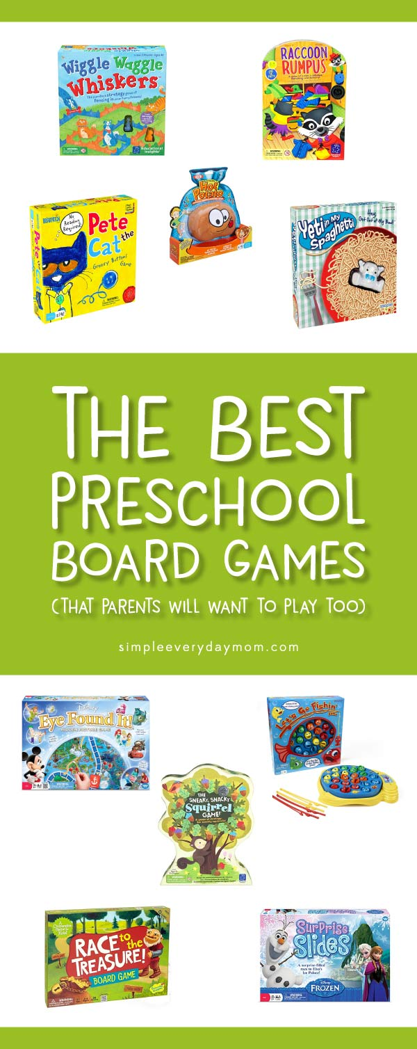 Wondering what the best preschool board games for kids are? Check out these ideas - they're games parents will actually want to play too! #preschooler #preschoolactivities #boardgames #kidsgames #kindergarten #boredombuster #activitiesforkids #kidsactivities