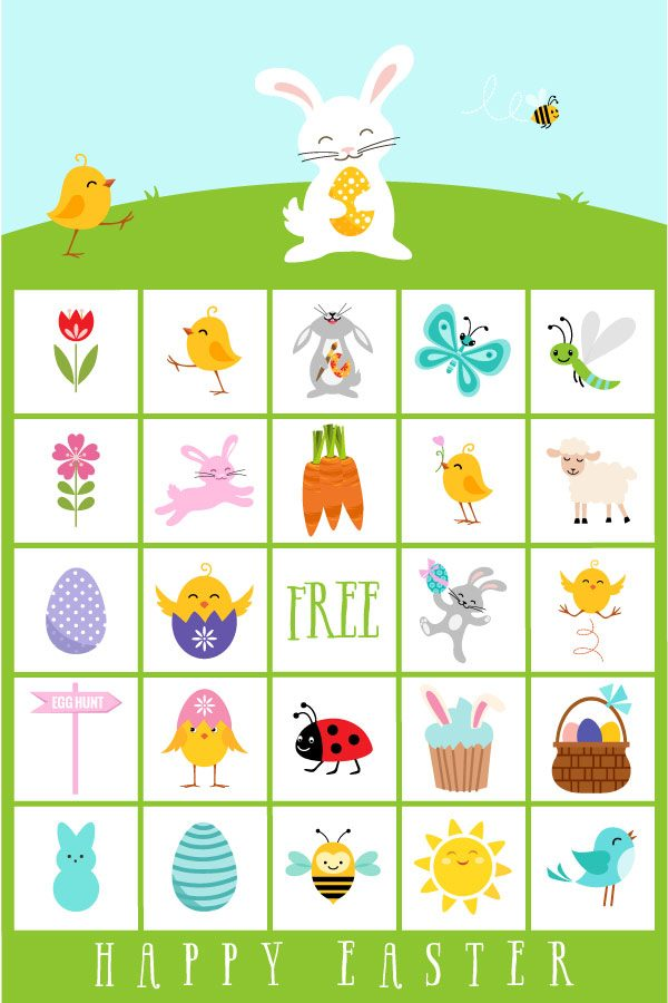 Printable Easter Bingo | Kids will have so much fun using these cute bingo cards with bunnies, eggs, spring animals and more.