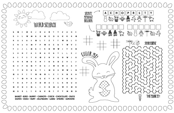 Easter Placemat | Entertain the kids at the dinner table with these fun Easter activity placemats. #easter #kids