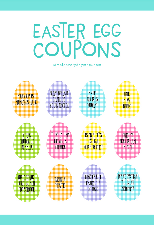 Easter Egg Coupons | Ditch the candy and fill those Easter eggs with fun Easter egg coupons. You can even write in some of your own to customize them!
