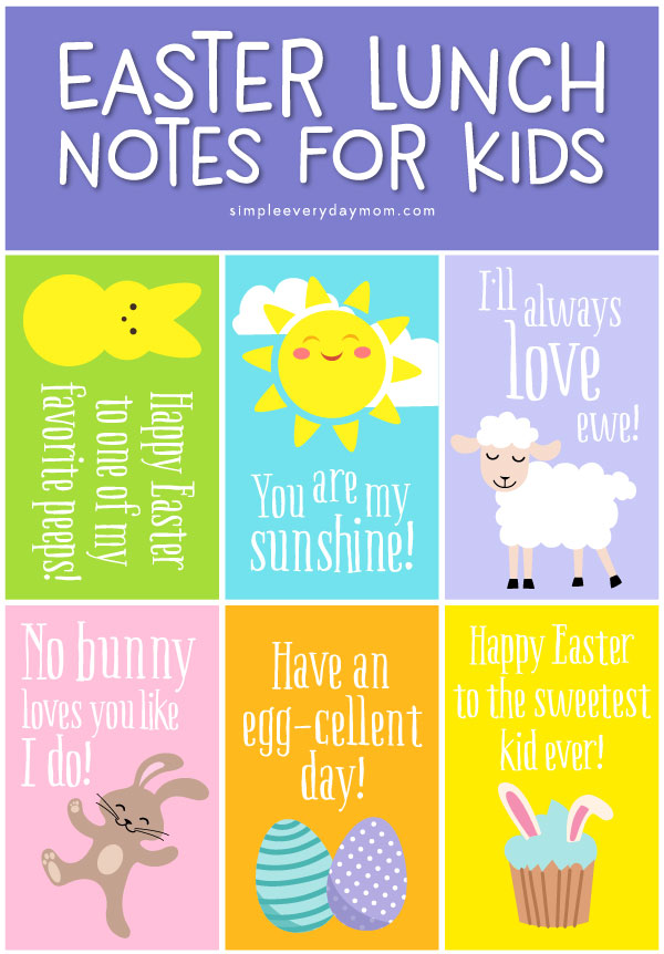 Easter Lunch Notes For Kids | Give your child a fun lunchbox surprise with these cute lunch notes for Easter featuring bunnies, sheep, chicks and more!