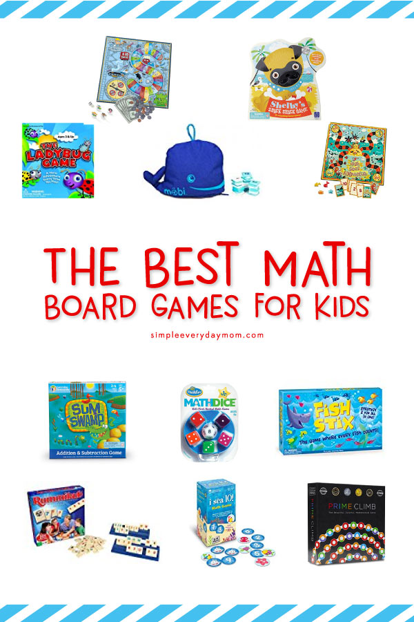 Make math fun again with these awesome math board games for kids! These games help kids of all ages (preschool-10+) develop the skills of number recognition, counting, addition, subtraction, multiplication, division and more. #mathgames #mathforkids
