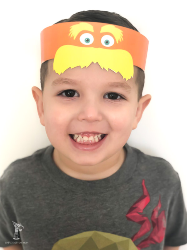 lorax headband on boy