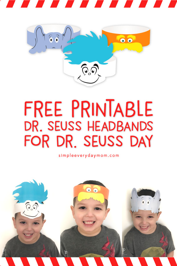 free printable dr seuss hats: thing 1, lorax, horton
