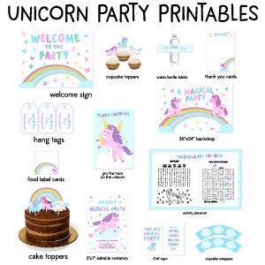Unicorn Birthday Party Printables