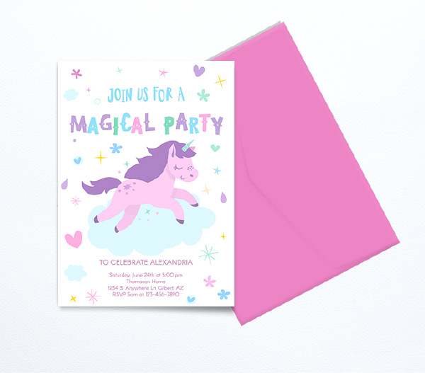 Unicorn invitations with pink envelope