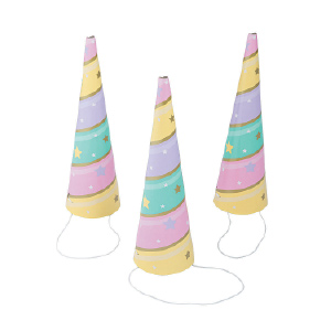 pastel colored unicorn party hats
