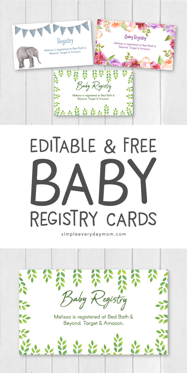 DIY Baby Shower Registry Cards Printable