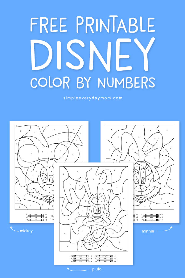 three Disney color by number pages