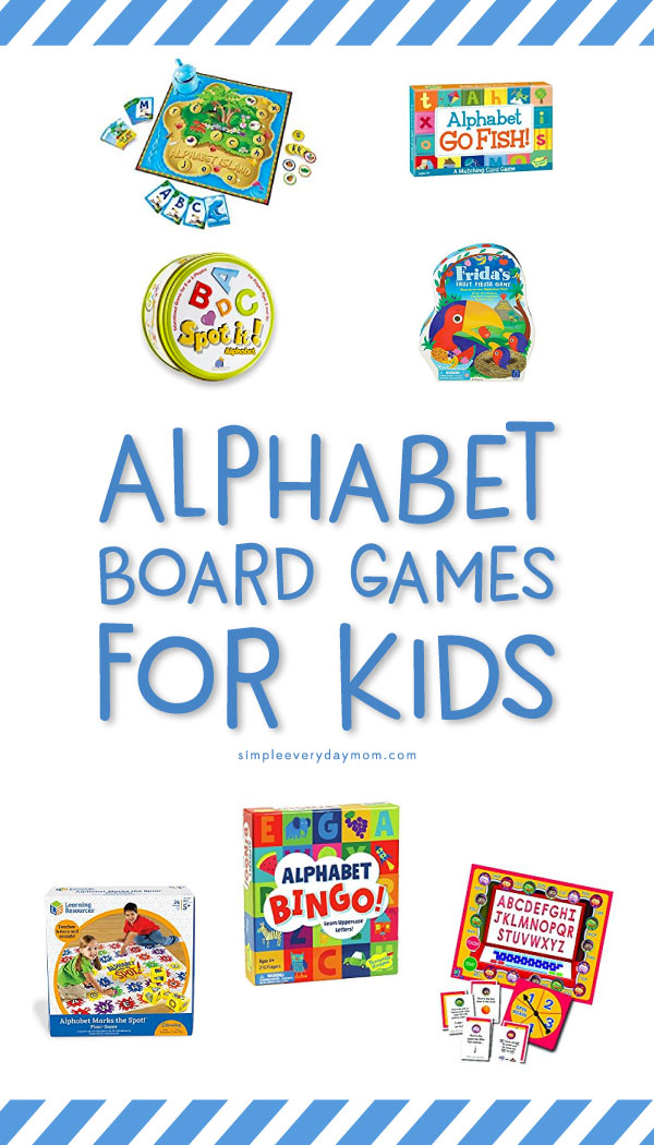 The Best Alphabet Board Games For Kids | Preschoolers and Kindergarteners will love playing these games to learn their ABCs. There's alphabet bingo, alphabet go fish, Spot It! Alphabet edition and more! #boardgamesforkids #boardgames #alphabet #abc #kidslearningactivities