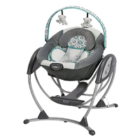 grey and blue baby swing