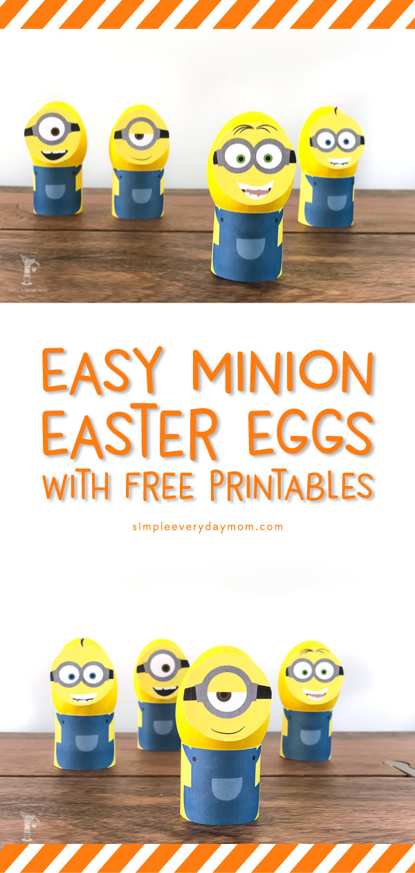 Easy DIY Minion Easter Eggs | Looking for the perfect Easter egg decorating ideas for your kids? These Minion Easter eggs are it! Skip the messy dye and let your kids paint them instead. Plus use these free printables to create an easy, unique and fun Easter egg in minutes! #minions #eastercrafts #eastercraftsforkids #eastereggs #freeprintable