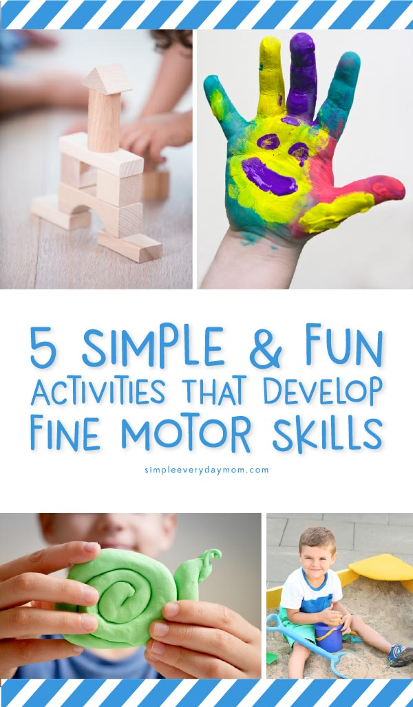 4 pictures of kids playing with different toys