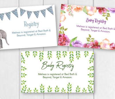 3 baby registry cards