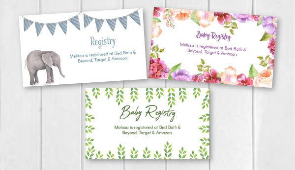 3 baby registry cards