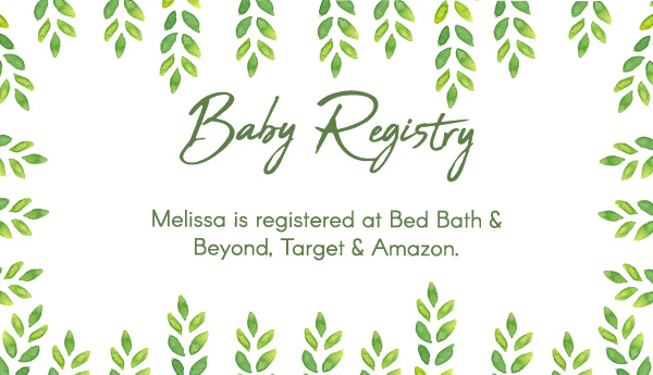 green foliage baby registry card