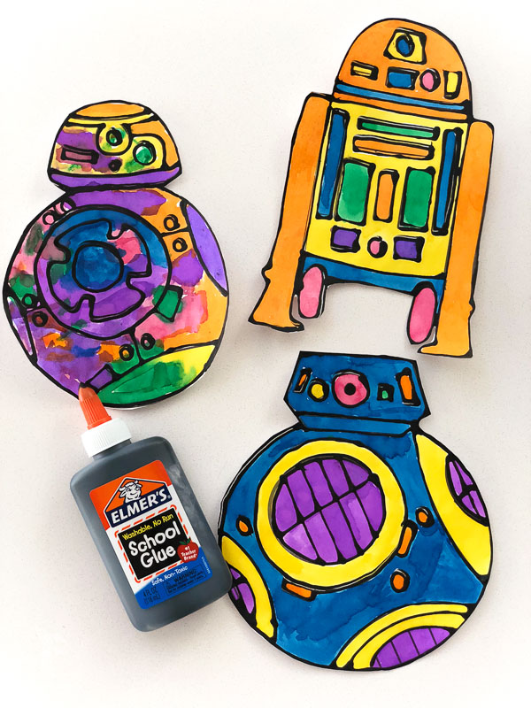 black glue and watercolor R2-D2, BB-8 and BB-9E