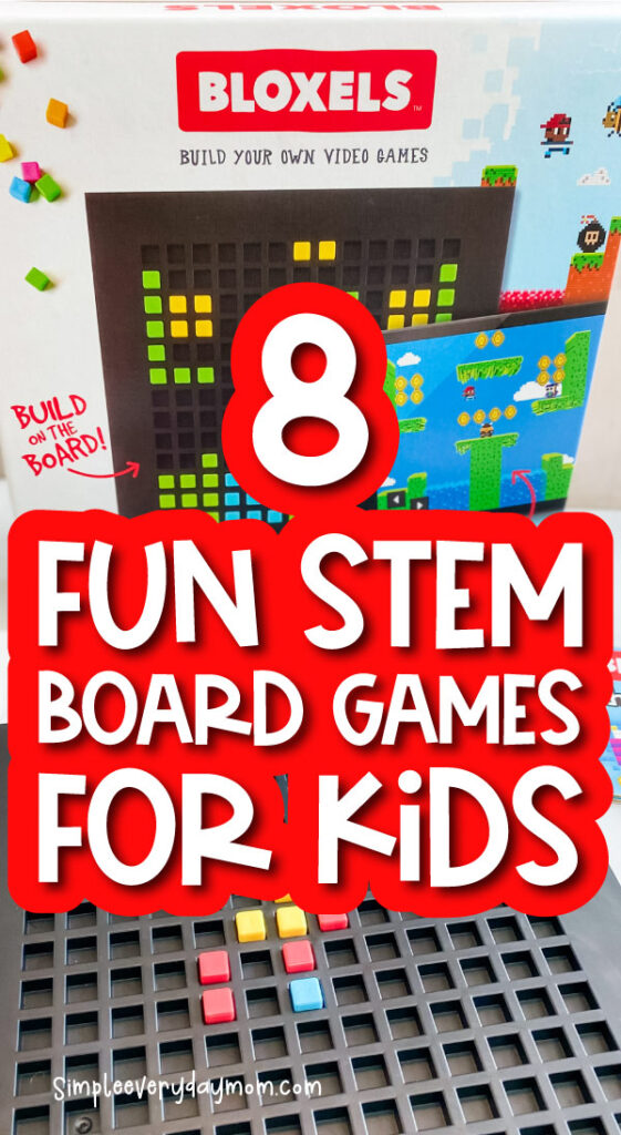 bloxels stem board game image with the words 8 fun stem board games for kids