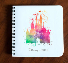 watercolor disney castle autograph book