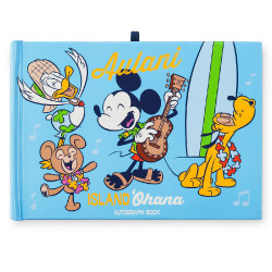 Hawaiian style Mickey Mouse with Pluto, Donald, Duffy and surf board