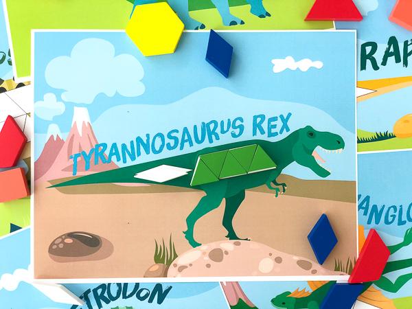 dinosaur pattern block activity cards: tyrannosaurus rex