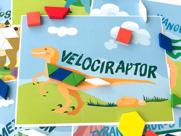 velociraptor dinosaur pattern block picture with pattern blocks