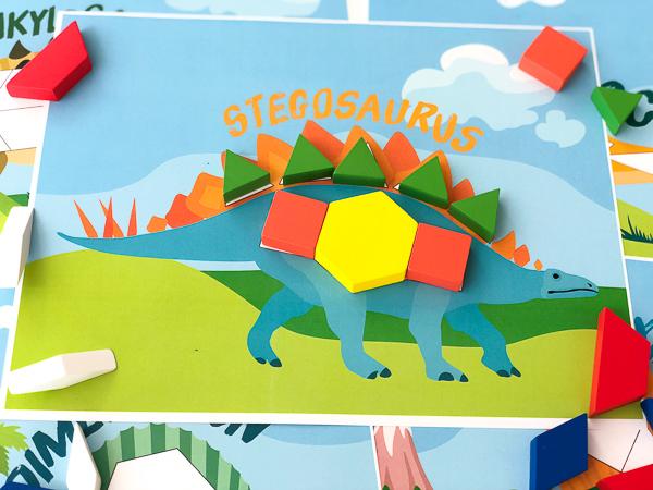 dinosaur pattern block templates: stegasaurus
