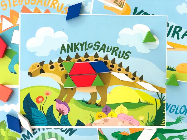 dinosaur pattern block mats: ankylosaurus