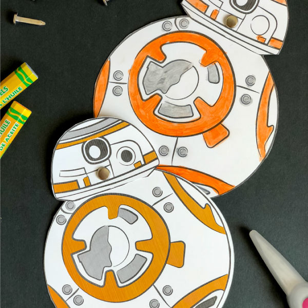 Star Wars droids Father's Day cards on black background with supplies