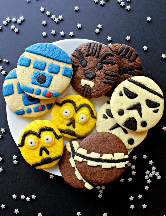 R2D2, Chewbacca, C3-P0 and Storm Trooper sugar cookies