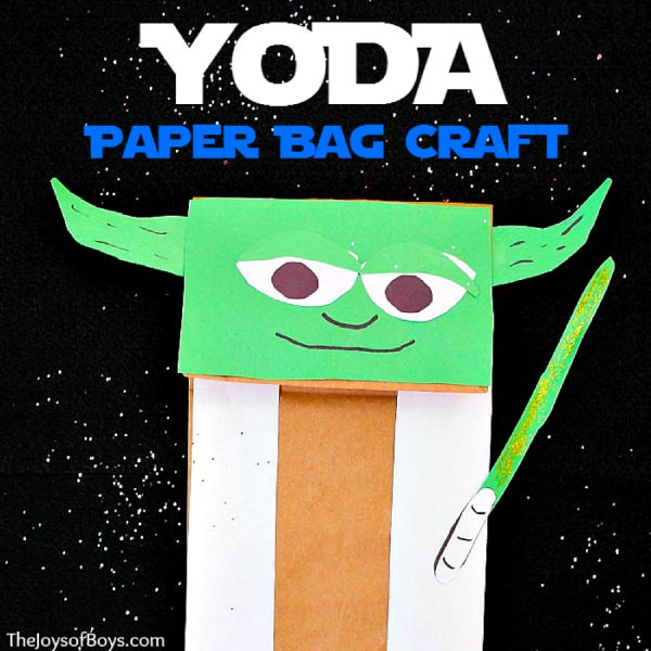 paper bag yoda craft